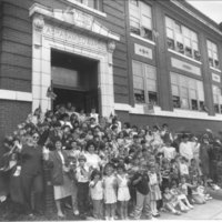 Abraham Edwards Elementary School students and staff celebrating the school's 75th anniversary, Spring, 1987