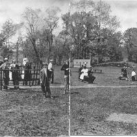 Trap shooting by members of the gun club