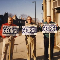 The brothers, Jim and Angie George, campaigning for John L. George's re-election as selectman
