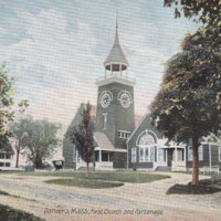 Postcard depicting First Church and parsonage