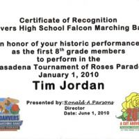 Certificate of recognition for 8th graders who marched with DHS Band in Rose Bowl Parade