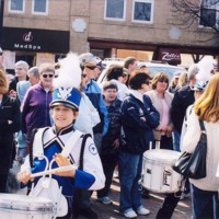 Myself with marching snare in Meggan Duggan Parade