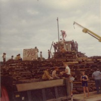 Bicentennial bonfire at Plains Park, 1976