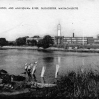 High school and Annisquam River, Gloucester, Massachusetts