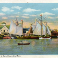 Fishing boats in port, Gloucester, Mass.