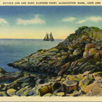 Mother Ann and surf, Eastern Point, Gloucester, Mass., Cape Ann