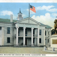 Legion Memorial Building and Joan of Arc statue, Gloucester, Mass.