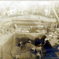 Public library, excavating for building