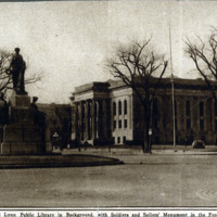 Public library, showing Soldiers and Sailors Monument in the foreground