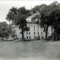 Public library, showing intersection of North Common and Franklin Streets, 1928