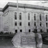 Public library, showing close-up of Revolutionary monument on lawn