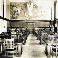 Public library, reading room, showing mural