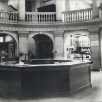 Public library rotunda, main desk additional lights
