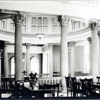 Public library, reference room, columns of rotunda