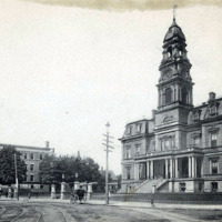 City Hall, First Methodist Church and Rhodes Building in background