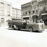 Ladder Truck in front of Broad Street Station, 1950