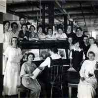 A.E. Little and Company, shoe manufacturer; stitching room, 70 Blake Street