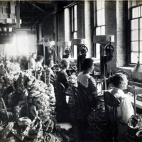 A.E. Little and Company, shoe manufacturer; stitching room, 70 Blake Street: View 1