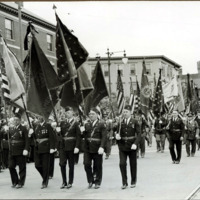 Congressman Connery's funeral: massed flags arriving at the church for services of William Connery, June 21, 1937