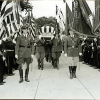 Funeral casket being borne into church for services for Congressman William P. Connery, June 21, 1937