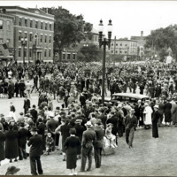 Conressman Connery's funeral: crowd in City Hall Square, June 21, 1937