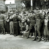 Congressman Connery's funeral: crowd outside St. Mary's Church, June 21, 1937