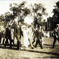 President and Mrs. Coolidge leaving the Common with Mayor Harland A. McPhetres, after the exercises