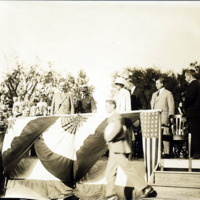 President Coolidge and Mrs. Coolidge at flag raising exercises on Lynn Common, August 27, 1925