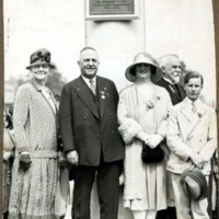 Marchioness Townshend and her son with  Mayor and Mrs. Ralph Bauer at flagpole dedication, 1929