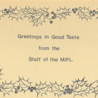 Greetings in good taste from the staff of the MPL