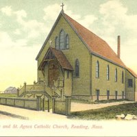 Oldest house and Saint Agnes Catholic Church, Reading, Mass.