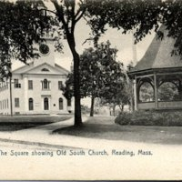 The Square showing Old South Church, Reading, MA