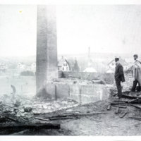 [Photograph of S. Harnden's mill yard after fire]