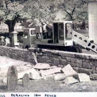 [Laurel Hill Cemetery] : new wall replacing iron fence