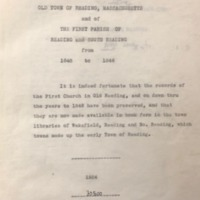 Church records of the old town of Reading, Mass. and of the First Parish of Reading and South Reading from 1648 to 1846