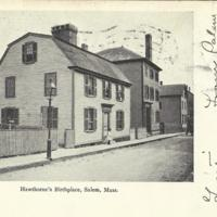 Hawthorne's Birthplace, postcard sent in 1906