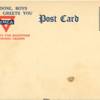 Postcard: YMCA Department for Reception of Returning Troops