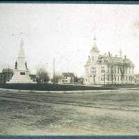Saugus Center, 1897, L to R First Parish, monument, Capt. Barnes home, town hall, fire department