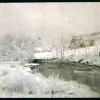 Saugus Center, Saugus River in winter looking at Scott mill
