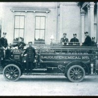 Saugus fire fighters with fire engine in front of Town Hall