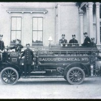 Saugus Fire Department, Hose Truck I, chemical, infront of Town Hall, Saugus