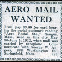 Add for 1912 Aero mail, Harry Atwood flew the mail