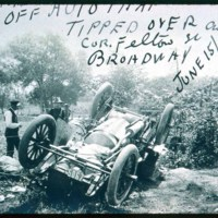 Automobile accident, corner Felton Street and Broadway, 1905