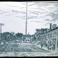 Drawing of East Saugus - Newhall spice mill on right