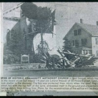 Methodist Church after tornado, Chestnut and Winter Streets, East Saugus