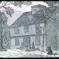 East Saugus where Lincoln Avenue & Ballard Street, First blue ancher woodcut, tavern