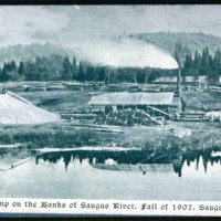 Lumber camp on Saugus River by Iron Works, Woodcut