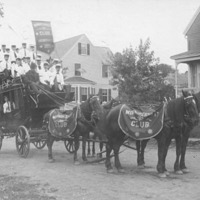 Fiftieth anniversary of Swampscott: Winnipesnett Club of Swampscott members riding on stage coach