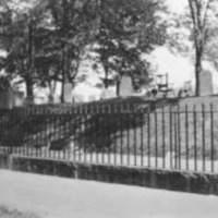 View of a cemetery after the Great Salem Fire