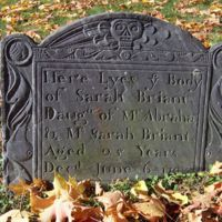 Sarah Briant [i. e.  Bryant] headstone, Old Burying Ground, Wakefield, Mass.